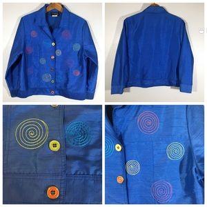 Vintage 90's Art to Wear Colorful Blue Jacket - SP